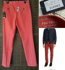 NWT ZEGNA SPORT Red Garment Dyed Fine Twill Cotton Casual Pants Size 46/31 $325