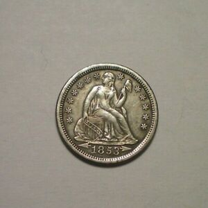 1853 ARROWS SEATED LIBERTY DIME XF