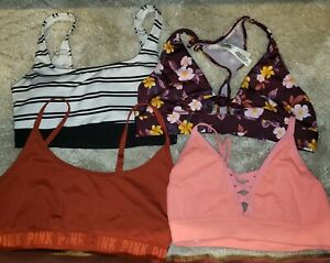 lot Of 4 Victoria Secret Bras/Sports Bras  Pink Size Large