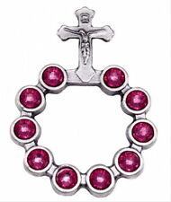NEW MADE IN ITALY ONE DECADE POCKET ROSARY PINK  SWAROVSKI CRYSTAL ELEMENTS