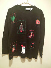 Vintage Ugly Christmas Sweater Tacky - Large Black - Christmas Stamped Sweater !
