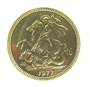 """9ct. GOLD - 1977 COMMEMORATIVE """"SOVEREIGN"""" COIN"""