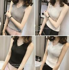V neck Sleeveless Cotton Knitted Tank Top