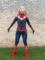 Avengers Captain Marvel Cosplay Costume Zentai Bodysuit Adult Kid Girls Jumpsuit