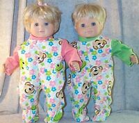 "Doll Clothes Baby Made 2 Fit American Girl Twin 15"" Inch Boy Pajamas 2pc Monkey"