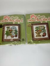 Jiffy Needlepoint Sunset Designs 2 Kits Stained Glass Atrium Sealed Craft Nos