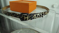 """Talbots NWT $64 L BELT Leopard Haircalf Brown Leather Buckle Large 12 14 38-42"""""""