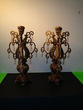 """Vintage Pair of Gold Metal Candelabras with Prisms ( 19 by 10 by 10""""each)"""