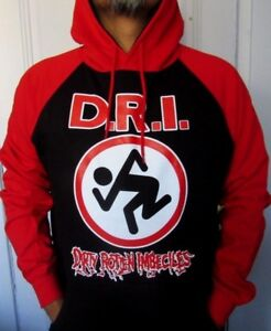 DIRTY ROTTEN IMBECILES TWO TONES HOODIES PUNK ROCK BLACK RED MEN'S SIZES