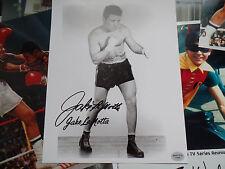 Jake LaMotta Autograph 8x10 signed b/w flat finish auto SPORTSLOT decal cert.