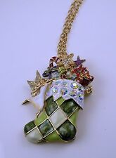 Kirks Folly Fairy Christmas Stocking Pin / Pendant with chain