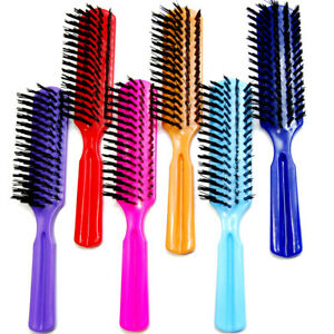 "Luxxii (6 Pack) 7.5"" Plastic Color Handle Nylon Bristle Brush Hair Pocket Comb"