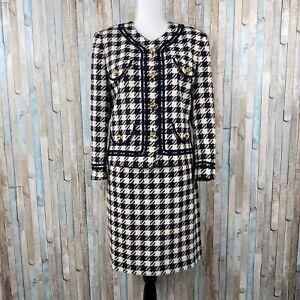 Escada 10 12 Classic Vintage Navy Check Tweed Blazer Jacket Skirt Suit Set