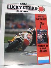 Poster Team Lucky Strike Suzuki Kevin Schwantz 1st Dutch TT Assen 1991 (PBE)