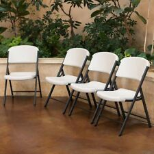 Lifetime Commercial Grade Folding Chair 4-pack, NO TAX, Almond (Beige)