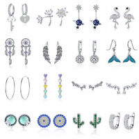 Wedding Elegant 925 Sterling Silver Clear CZ Ear Stud/Dangle Earrings For Women