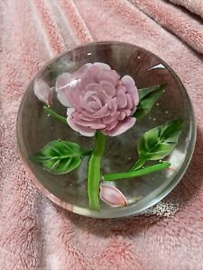 """Large Vintage Art Glass Paperweight Pink Rose Flower Gorgeous 5"""""""