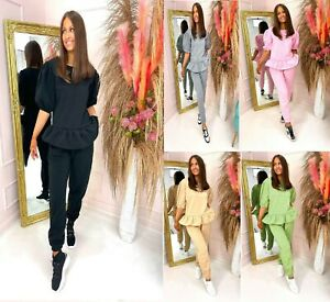 Womens Ladies Frill Puff Short Sleeve Peplum Loungewear 2 Piece Tracksuit Set
