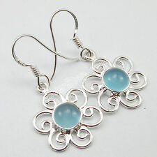 Fashion Jewelry Women's 92.5% Pure Sterling Silver AQUA CHALCEDONY Gem Earrings