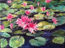 Water Lily - Philippine Art Oil Painting by Jun Rocha 2.5 ft x 2 ft
