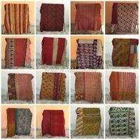 Indian Bedding Vintage Throw Bedspread Coverlet Blanket Reversible Kantha Quilt