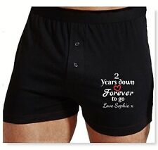 PERSONALISED boxer shorts Cotton Wedding Anniversary gift EMBROIDERED 2 yrs Down