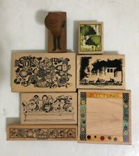 Vintage Vintage Rubber Stamps - Train Candy Buttons Ginkgo Nature Lot of 7