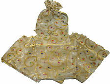 Wedding Bomboniere Craft Christmas Gift Organza Bag GOLD x 20 - 165mm x 125mm