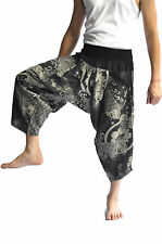 Thai Fisherman Pants Mens Yoga Baggy Boho Aladdin Cotton, Free size, black fish
