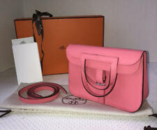 New Hermes Rose Azalea Mini Halzan Clutch/Messenger/Shoulder Full Set/Receipt
