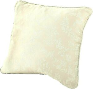 2 X Floral Jacquard Cushion Cover, CREAM WHITE WITH PIPING , 45 x 45 Cm