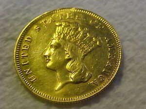 1878 $3 Gold Indian Princess XF  Details Cleaned, from Jewelry Still Nice Coin
