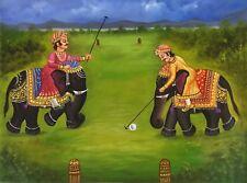 Elephant Polo Rajasthan Painting Handmade Indian Sport Wall Decor Canvas Oil Art
