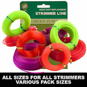 STRIMMER LINE VARIOUS SIZE  ROLLS ELECTRIC 1.25mm-2.4mm NYLON CORD GREEN JEM