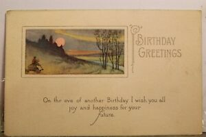 Greetings Birthday Happiness for Your Future Postcard Old Vintage Card View Post