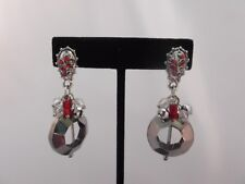 """Clip on 2 1/4"""" silver red stone dangle clear circle non pierced earrings"""