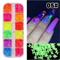 12 Grids Nail Art Flakes Holographicss Butterfly Nail Glitter Sequins Decor Tips