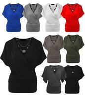 Damen Wrap Over V-Ausschnitt Crossover Batwing Top Damen Halskette Loose Tunika