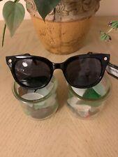 "Foster Grant ""Jet Set 1"" Women's Winged Way Style Sunglasses Black w Brass Stem"