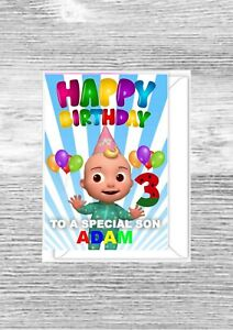 Personalised cocomelon birthday card, any name, any age