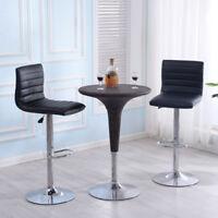 Set Of 2 Bar Stools PU Leather Adjustable Barstool Swivel Pub Chairs Black New