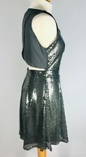 Angeleye London Sequin Keyhole Party Dress UK 14 Grey Silver