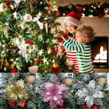 Christmas Large Poinsettia Glitter Flower Tree Hanging Party Xmas Decor WT