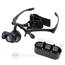 Illuminated Head Magnifier LED Jeweler Hands-Free Interchangable Loupe Lenses