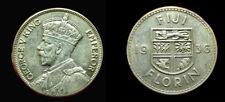 Fiji 1936 Florin, Rare High Grade, High Grade AU, Luster, Sharp, Low Mtg 60,000