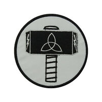 Thor Hammer Round Logo Patch Iron On Sew On Badge Embroidered Patch