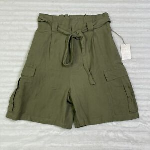 A New Day Women's Paperbag Waist Shorts Olive Green Size Small S Linen