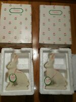 Lot of 2 Dept 56 Small Bunny 1992 7499-3 Porcelain Snowbabies Easter New w/ Tag