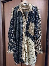 WE BE BOP 3X Artsy Fun Button-up Ryaon Big Top Shirt Blouse (68 inch bust)