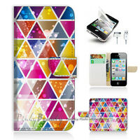 ( For iPhone 5 / 5S / SE ) Wallet Case Cover! Abstract Triangle Pattern P1387